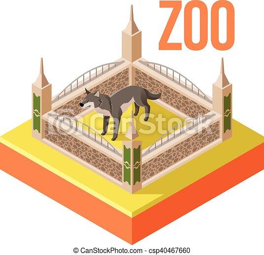 Zoo Wolf isometric icon - csp40467660
