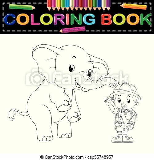 Illustration of zookeeper and elephant coloring book.