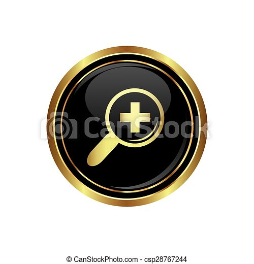 Zoom icon on black with gold button - csp28767244