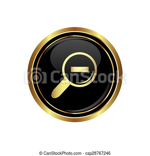 Zoom icon on black with gold button - csp28767246