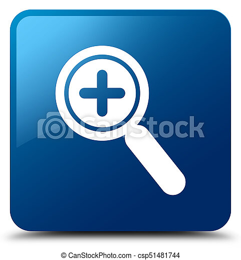 Zoom in icon blue square button - csp51481744