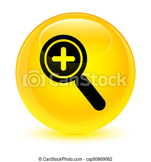Zoom in icon glassy yellow round button - csp50669062