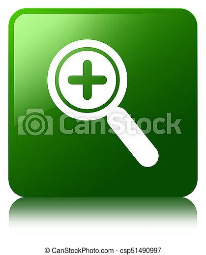 Zoom in icon green square button - csp51490997