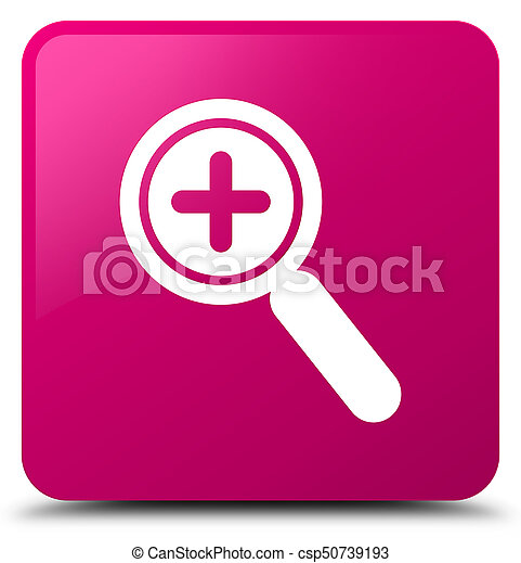 Zoom in icon pink square button - csp50739193