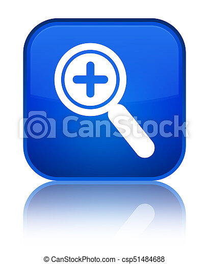 Zoom in icon special blue square button - csp51484688
