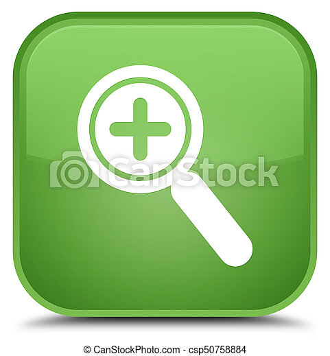 Zoom in icon special soft green square button - csp50758884