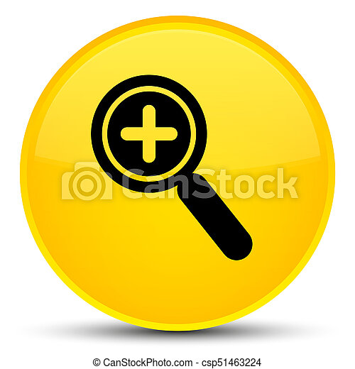 Zoom in icon special yellow round button - csp51463224