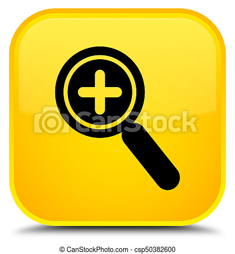 Zoom in icon special yellow square button - csp50382600