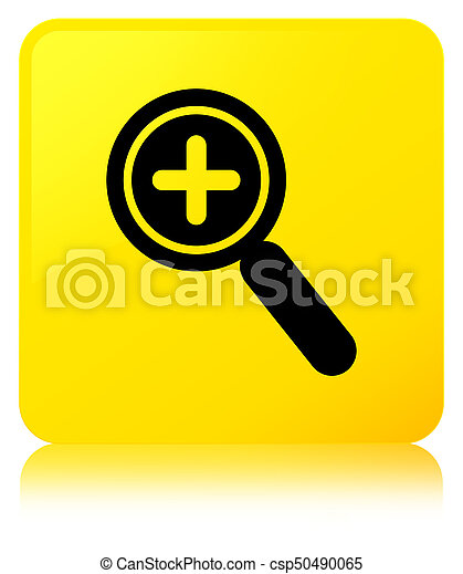 Zoom in icon yellow square button - csp50490065