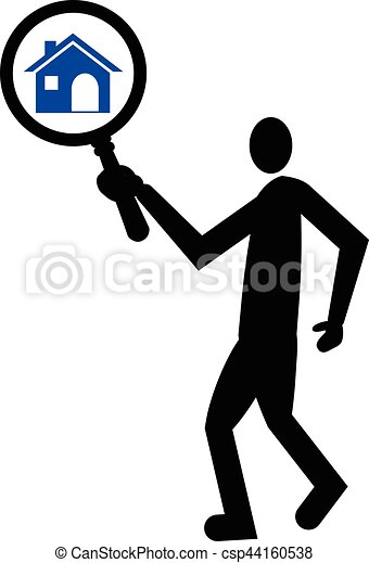 Zoom in or look for home vector icon. Search for home concept icon. - csp44160538