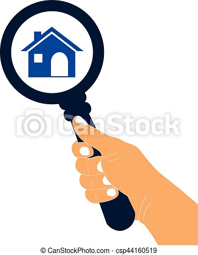Zoom in or look for home vector icon. Search for home concept icon. - csp44160519
