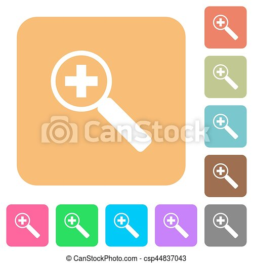 Zoom in rounded square flat icons - csp44837043