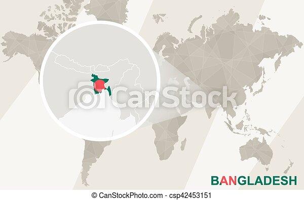 Zoom on Bangladesh Map and Flag. World Map.