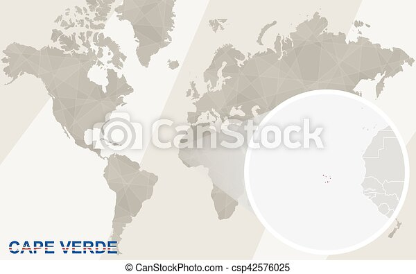 Where Is Cape Verde Located On The World Map.Zoom On Cape Verde Map And Flag World Map