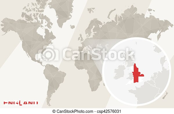 Map Of England Zoom.Zoom On England Map And Flag World Map