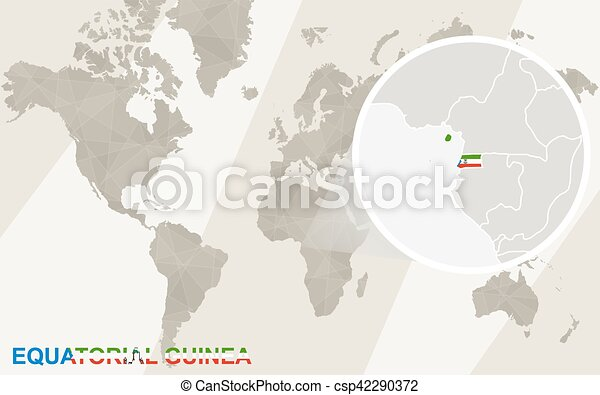 Zoom on equatorial guinea map and flag. world map.