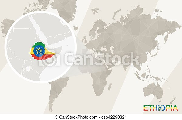 Zoom on ethiopia map and flag world map gumiabroncs Choice Image