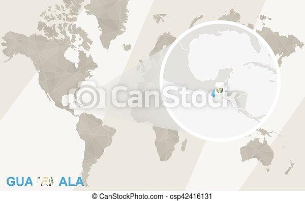 Zoom on guatemala map and flag world map publicscrutiny Choice Image