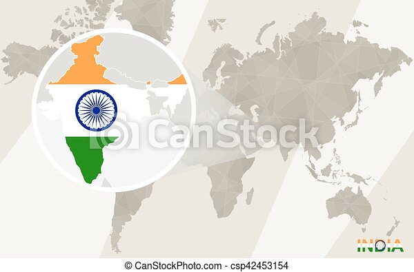 India map and flag vector search clip art illustration zoom on india map and flag world map gumiabroncs Gallery