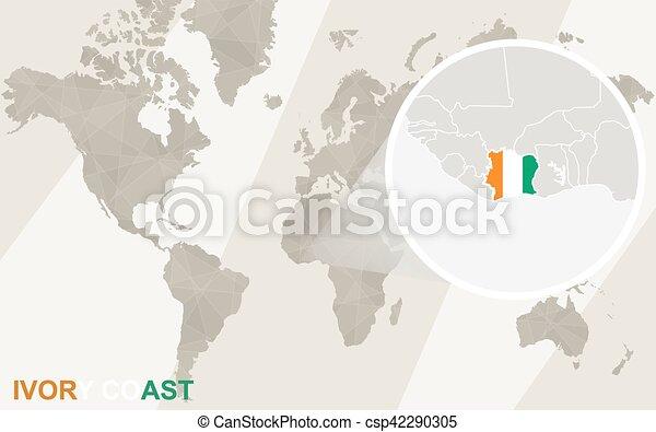 Zoom on ivory coast map and flag world map vector clipart search vector zoom on ivory coast map and flag world map csp42290305 gumiabroncs Images