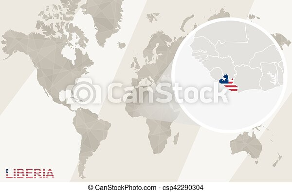 Zoom On Liberia Map And Flag World Map