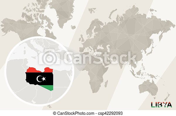 Zoom On Libya Map And Flag World Map