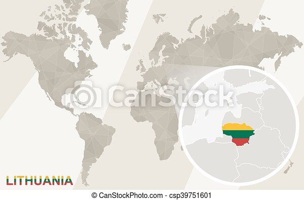 Zoom on lithuania map and flag world map gumiabroncs Gallery