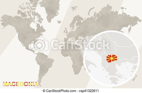 Zoom On Macedonia Map And Flag World Map