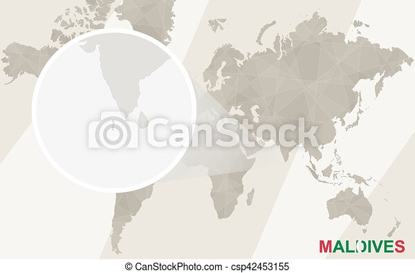 Zoom On Maldives Map And Flag World Map