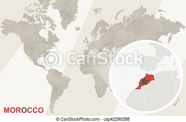 Zoom on morocco map and flag world map gumiabroncs Images