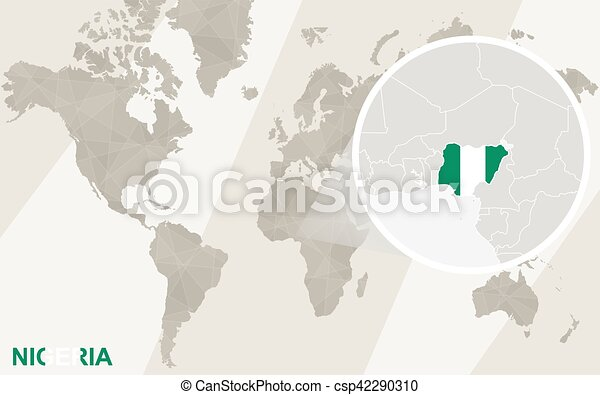 Zoom on nigeria map and flag world map vector clip art search vector zoom on nigeria map and flag world map csp42290310 gumiabroncs Image collections