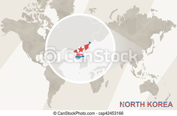 Zoom on north korea map and flag. world map.