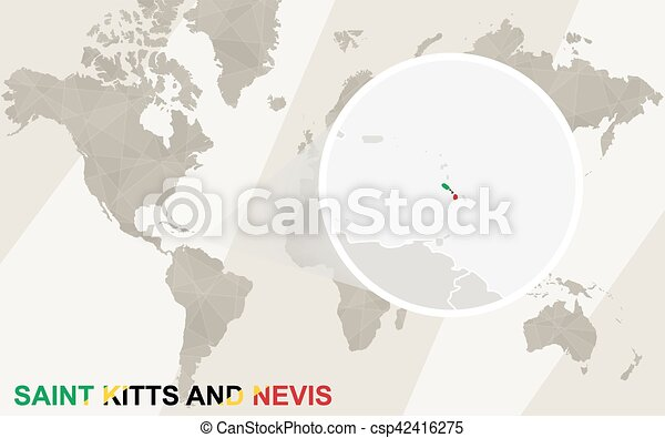 Zoom on Saint Kitts and Nevis Map and Flag. World Map. - csp42416275