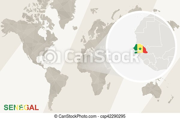Zoom On Senegal Map And Flag World Map Eps Vectors Search Clip - Senegal map vector