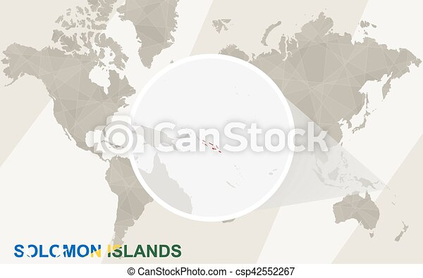 Solomon Islands World Map.Zoom On Solomon Islands Map And Flag World Map