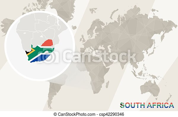 Zoom on south africa map and flag world map eps vector Search