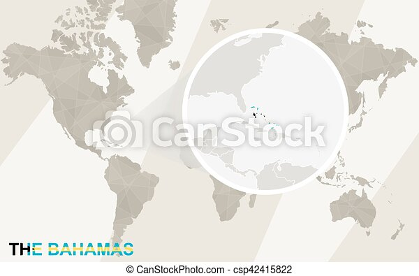 Zoom On The Bahamas Map And Flag World Map