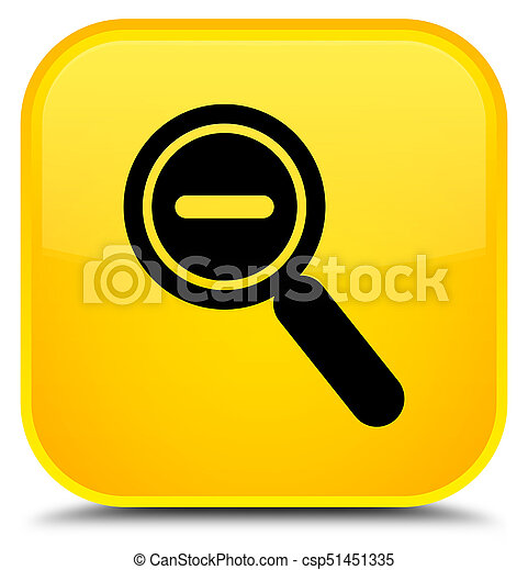 Zoom out icon special yellow square button - csp51451335
