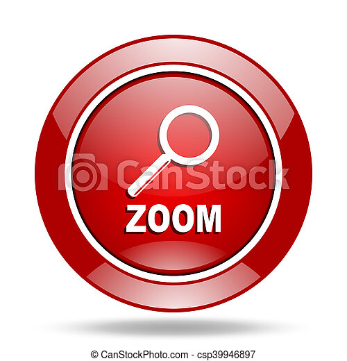 zoom red web glossy round icon - csp39946897