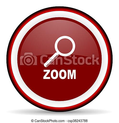 zoom round glossy icon, modern design web element - csp38243788