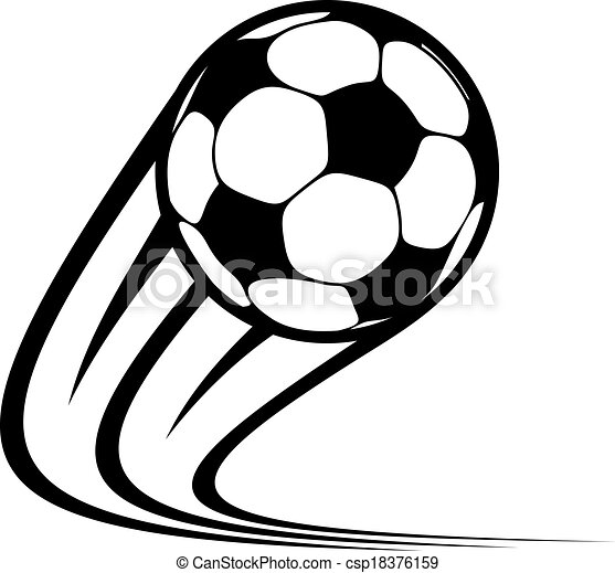 zooming soccer ball flying through the air with curved clipart rh canstockphoto co uk Transparent Soccer Ball Clip Art Soccer Ball Clip Art No Background