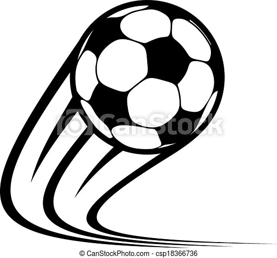 Zooming soccer ball flying through the air - csp18366736