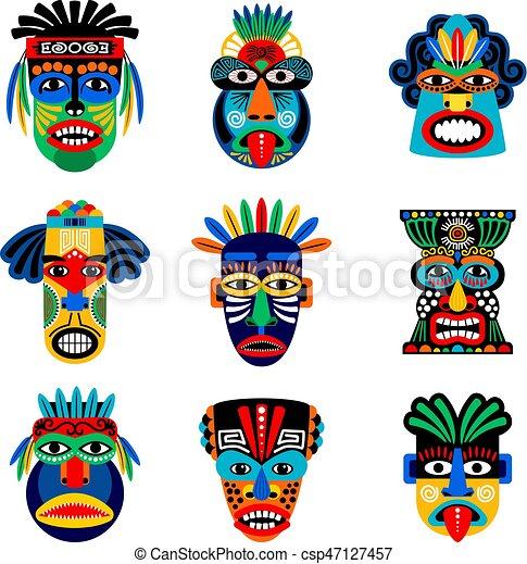 Zoulou Masque Ou Aztèque Icônes