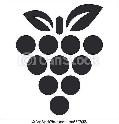zrnko vína, osamocený, ilustrace, svobodný, vektor, ikona - csp8607058