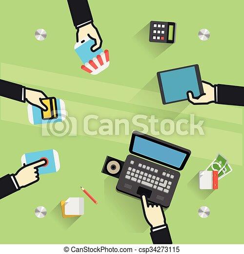 zrobienie, na, stół., biznesmeni, transakcja - csp34273115