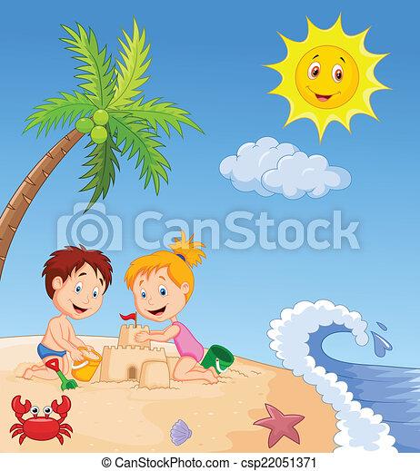 zrobienie, piasek, trop, zamek, dzieci - csp22051371