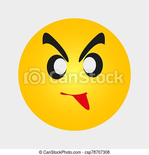 zrzędny, ludzie, żółty, emoji, gniewny, expression., wektor, twarz, płaski, emoticon, ilustracja, rysunek, wzruszenie, ikona - csp78707308
