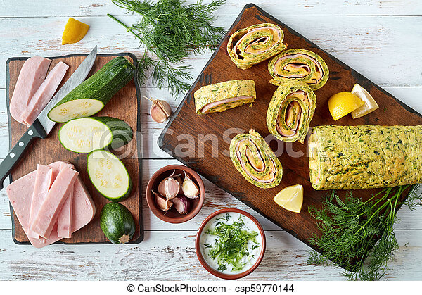 zucchini roulade on a board, top view - csp59770144