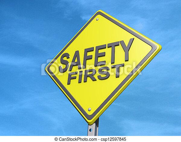 zuerst, sicherheit, ergebnis- zeichen - csp12597845