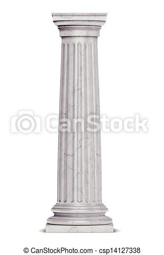zuil, griekse , enkel, witte , vrijstaand - csp14127338